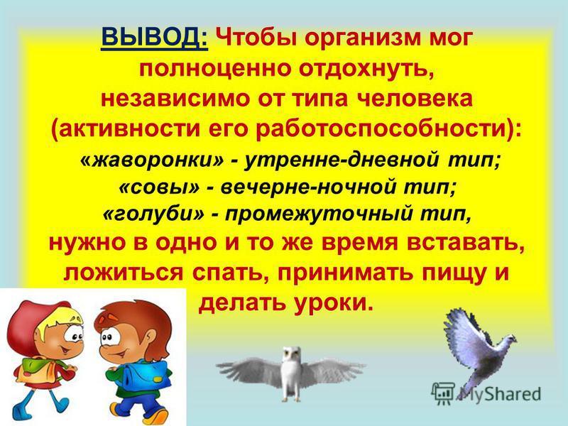ВЫВОД: Чтобы организм мог полноценно отдохнуть, независимо от типа человека (активности его работоспособности): «жаворонки» - утренние-дневной тип; «совы» - вечерне-ночной тип; «голуби» - промежуточный тип, нужно в одно и то же время вставать, ложить