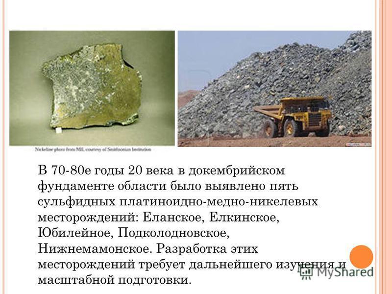 В 70-80 е годы 20 века в докембрийском фундаменте области было выявлено пять сульфидных платиноидно-медно-никелевых месторождений: Еланское, Елкинское, Юбилейное, Подколодновское, Нижнемамонское. Разработка этих месторождений требует дальнейшего изуч