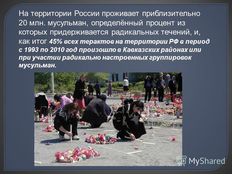 На территории России проживает приблизительно 20 млн. мусульман, определённый процент из которых придерживается радикальных течений, и, как итог 45% всех терактов на территории РФ в период с 1993 по 2010 год произошло в Кавказских районах или при уча