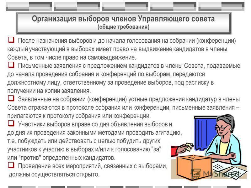 После назначения выборов и до начала голосования на собрании (конференции) каждый участвующий в выборах имеет право на выдвижение кандидатов в члены Совета, в том числе право на самовыдвижение. Письменные заявления с предложением кандидатов в члены С