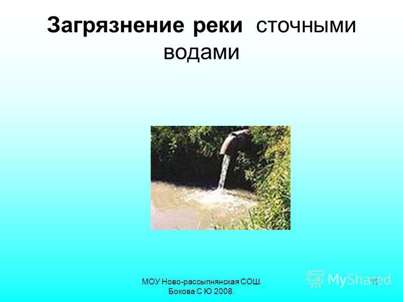 МОУ Ново-рассыпнянская СОШ. Бокова С Ю 2008. 11 Загрязнение реки сточными водами