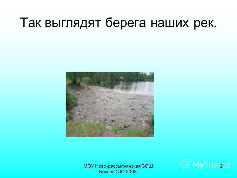 МОУ Ново-рассыпнянская СОШ. Бокова С Ю 2008. 12 Так выглядят берега наших рек.