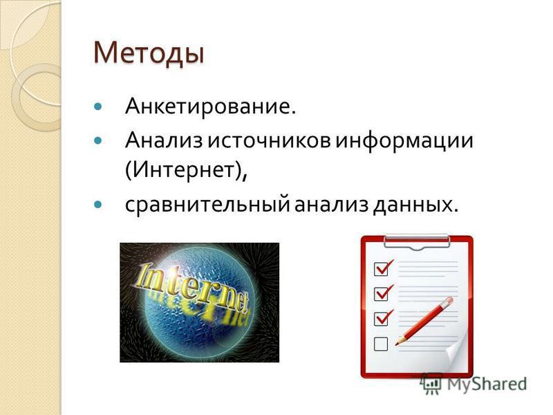 Методы Анкетирование. Анализ источников информации ( Интернет ), сравнительный анализ данных.