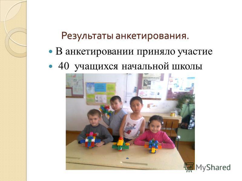 Результаты анкетирования. В анкетировании приняло участие 40 учащихся начальной школы