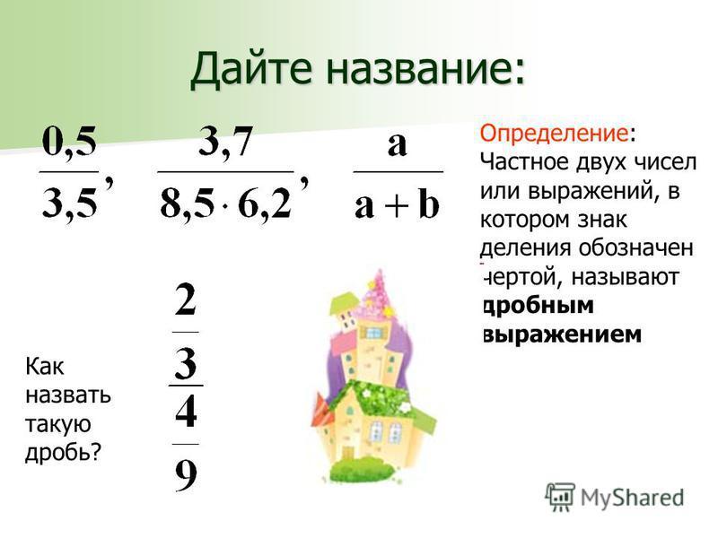 Дайте название: Определение: Частное двух чисел или выражений, в котором знак деления обозначен чертой, называют дробным выражением Как назвать такую дробь?