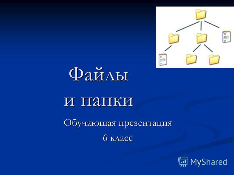 Файлы и папки Обучающая презентация 6 класс