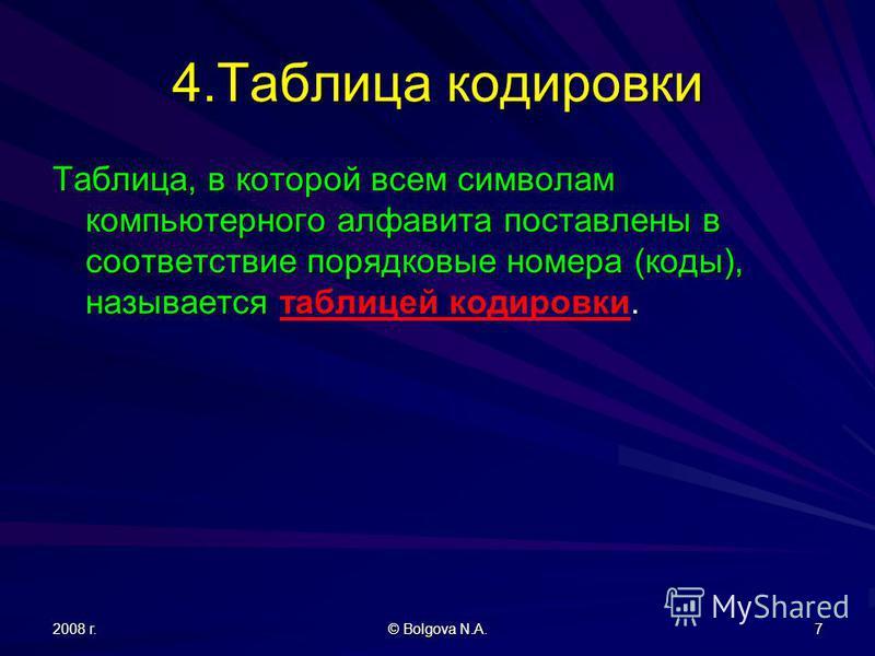 2008 г. © Bolgova N.A. 7 4. Таблица кодировки Таблица, в которой всем символам компьютерного алфавита поставлены в соответствие порядковые номера (коды), называется. Таблица, в которой всем символам компьютерного алфавита поставлены в соответствие по