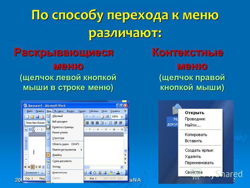 2010© Bolgova N A2 По способу перехода к меню различают: Раскрывающиеся меню (щелчок левой кнопкой мыши в строке меню) Контекстные меню (щелчок правой кнопкой мыши)
