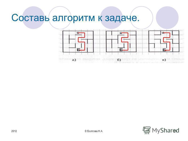 2012© Болгова Н.А.24 Составь алгоритм к задаче.