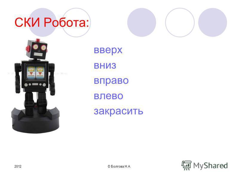 2012© Болгова Н.А.4 СКИ Робота: вверх вниз вправо влево закрасить