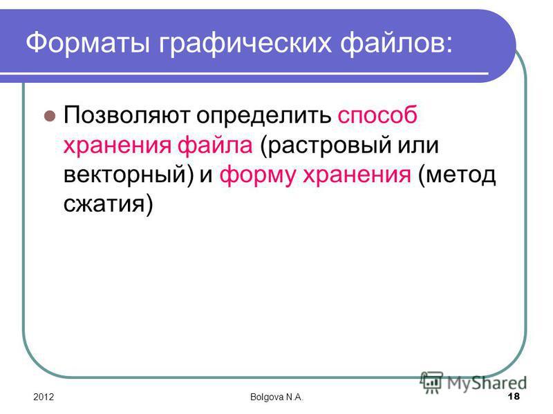 2012Bolgova N.A.18 Форматы графических файлов: Позволяют определить способ хранения файла (растровый или векторный) и форму хранения (метод сжатия)