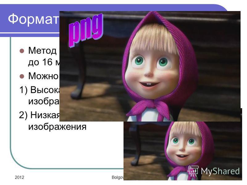 2012Bolgova N.A.21 Формат PNG Метод сжатия без потери данных (палитра до 16 млн цветов) Можно указать степень сжатия: 1) Высокая степень сжатия и плохое качество изображения; 2) Низкая степень сжатия и высокое качество изображения
