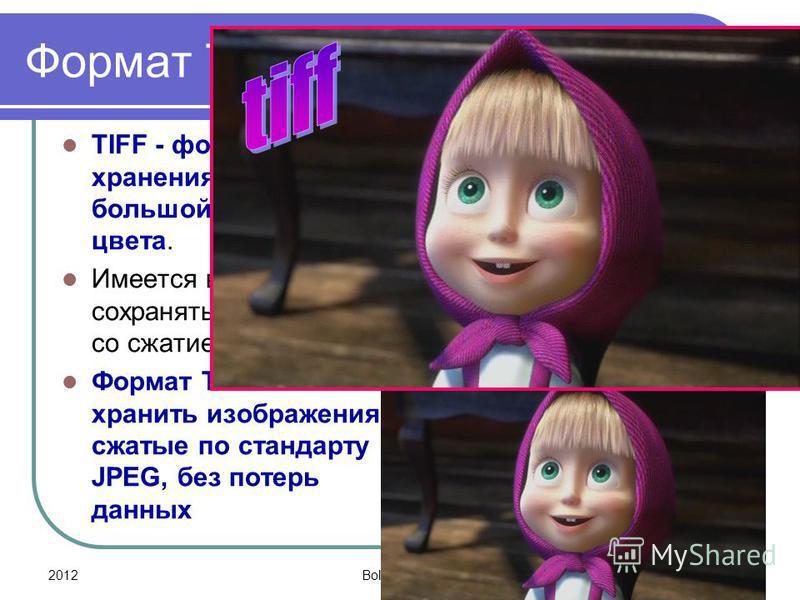 2012Bolgova N.A.22 Формат TIFF TIFF - формат для хранения изображений с большой глубиной цвета. Имеется возможность сохранять изображение со сжатием и без сжатия Формат TIFF позволяет хранить изображения, сжатые по стандарту JPEG, без потерь данных
