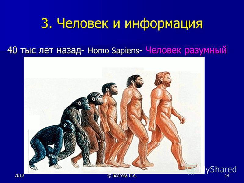 2010© Болгова Н.А.14 3. Человек и информация 40 тыс лет назад- Homo Sapiens - Человек разумный