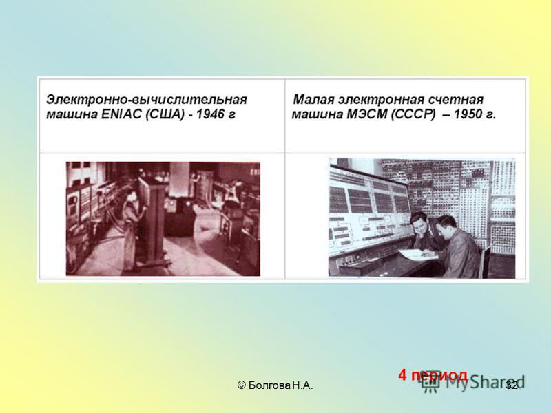© Болгова Н.А.32 4 период