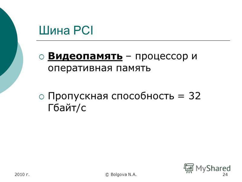 2010 г.© Bolgova N.A.24 Шина PCI Видеопамять – процессор и оперативная память Пропускная способность = 32 Гбайт/с