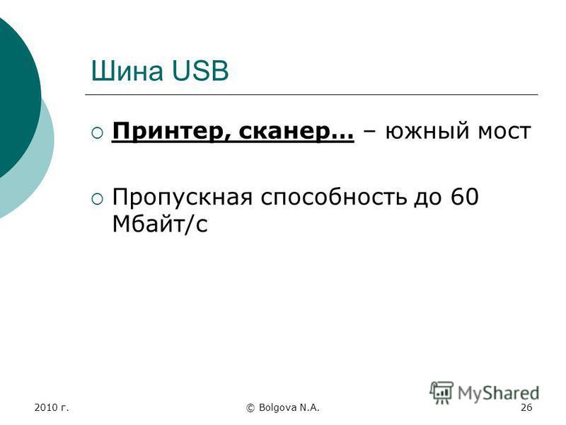 2010 г.© Bolgova N.A.26 Шина USB Принтер, сканер… – южный мост Пропускная способность до 60 Мбайт/с