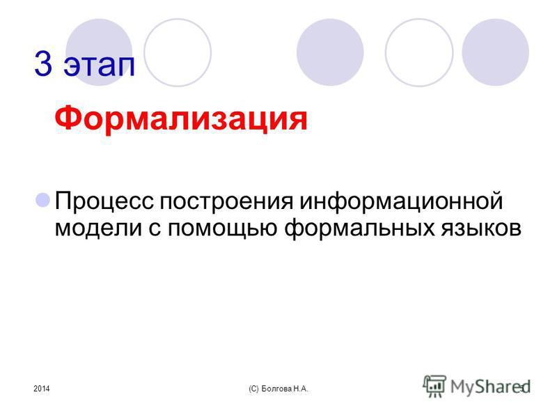 2014(С) Болгова Н.А.5 3 этап Формализация Процесс построения информационной модели с помощью формальных языков