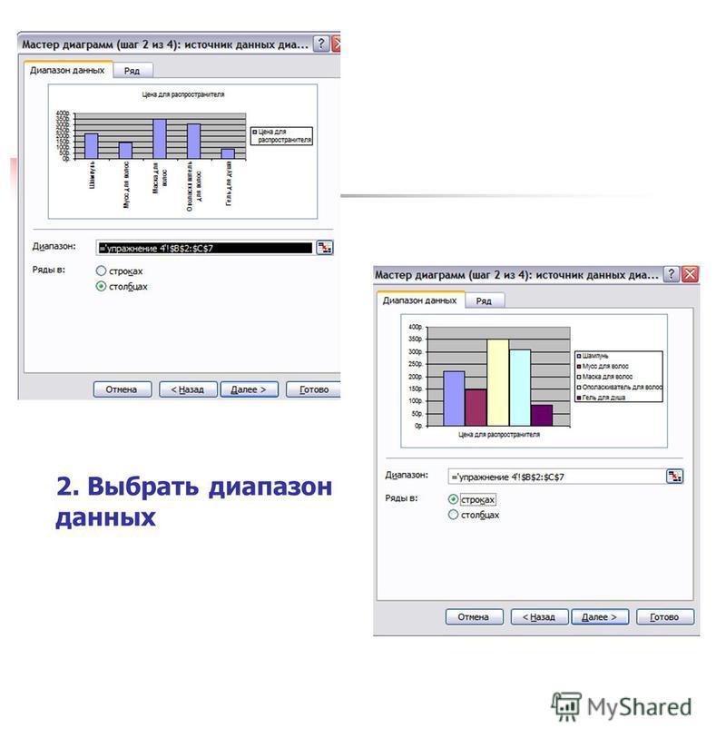 2. Выбрать диапазон данных