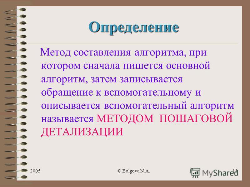 2005© Bolgova N.A.12 Блок - схема нач А, В, С БИД(А,В,Х) А := Мах В := С БИД(А,В,Х) max кон БИД(А,В,Х) А > В Max := AMax := B