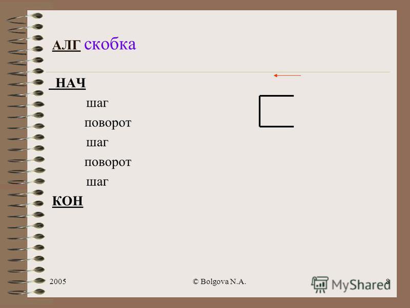 2005© Bolgova N.A.7 Задача 1: составить алгоритм рисования фигуры Чертежником