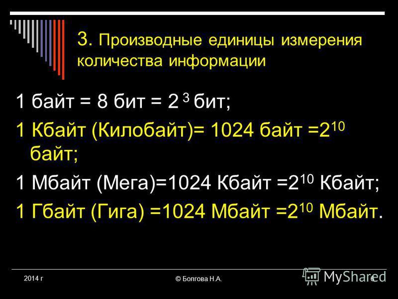 © Болгова Н.А.6 2014 г 3. Производные единицы измерения количества информации 1 байт = 8 бит = 2 3 бит; 1 Кбайт (Килобайт)= 1024 байт =2 10 байт; 1 Мбайт (Мега)=1024 Кбайт =2 10 Кбайт; 1 Гбайт (Гига) =1024 Мбайт =2 10 Мбайт.