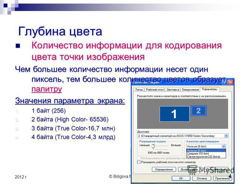 © Bolgova N.A.4 2012 г 4 Глубина цвета Глубина цвета Количество информации для кодирования цвета точки изображения Количество информации для кодирования цвета точки изображения Чем большее количество информации несет один пиксель, тем большее количес