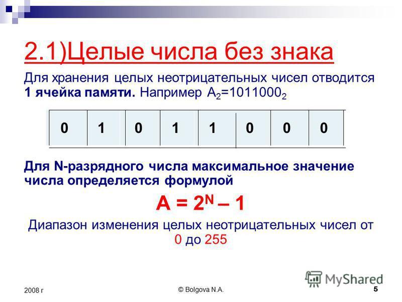 © Bolgova N.A. 5 2008 г 2.1)Целые числа без знака Для хранения целых неотрицательных чисел отводится 1 ячейка памяти. Например А 2 =1011000 2 Для N-разрядного числа максимальное значение числа определяется формулой A = 2 N – 1 Диапазон изменения целы