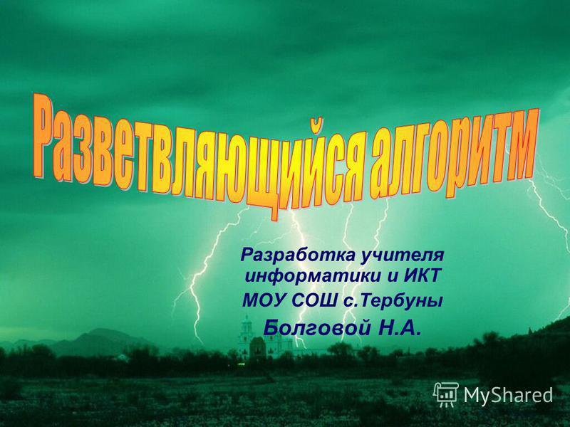 Разработка учителя информатики и ИКТ МОУ СОШ с.Тербуны Болговой Н.А.