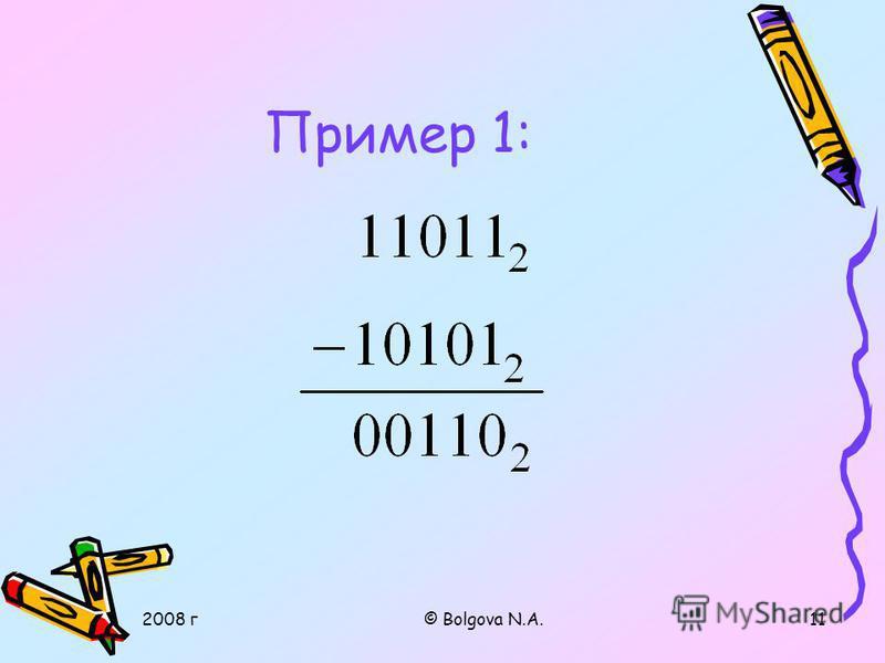 2008 г© Bolgova N.A.10 1. Вычитание в двоичной с/счисления Законы сложения: 0 + 0 = 0 0 + 1 = 1 1 + 0 = 1 1 + 1 = 10 Правила вычитания: 0 - 0 = 0 1 - 1 = 0 1 - 0 = 1 10 – 1 = 1 0 – 1 = 1 1 При вычитании из меньшего числа (0) большего (1) производится