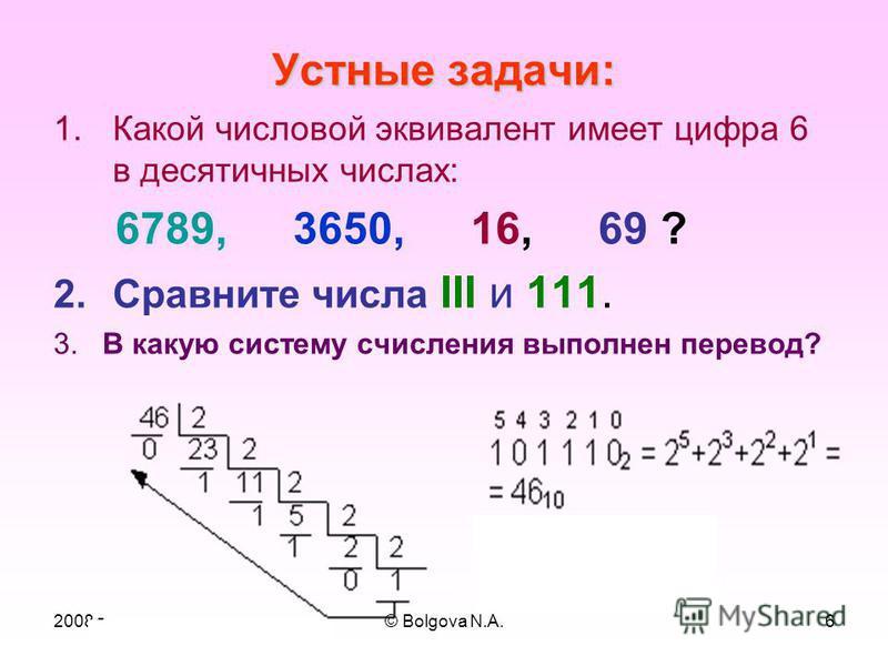 2008 г© Bolgova N.A.5 С/ счисления Основание Алфавит десятичная 10 0, 1, 2, 3, 4, 5, 6, 7, 8, 9 восьмеричная 8 0, 1, 2, 3, 4, 5, 6, 7 двоичная 2 0, 1 шестнадцатеричная 16 0, 1, 2, 3, 4, 5, 6, 7, 8, 9, A, B, C, D, E, F