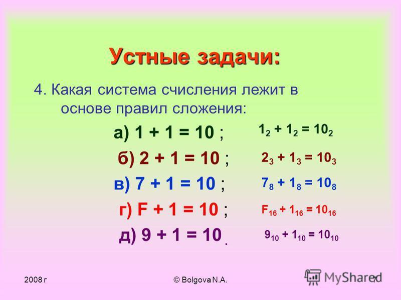2008 г© Bolgova N.A.6 Устные задачи: 1. Какой числовой эквивалент имеет цифра 6 в десятичных числах: 6789, 3650, 16, 69 ? 2. Сравните числа III и 111. 3. В какую систему счисления выполнен перевод?