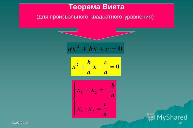 23.07.201515 Запишите в тетрадях: х 1 и х 2 - корни уравнения х 2 +рх+q=0 x 1 х 2 = q х 1 +х 2 = - р Теорема Виета и обратная ей: