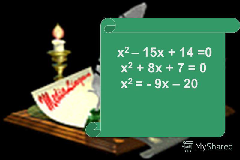 23.07.20156 Да Решений нет Нет D 1 < 0 D 1 > 0 Да Нет х =х = х 1, 2, = Два действительных корня Один (двукратный) корень х =х = ах 2 + вх +с = 0, где в - чётное число D1D1 =