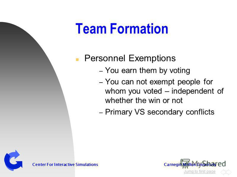 Jump to first page Center For Interactive Simulations Carnegie Mellon University Team Formation n Personnel Exemptions – You earn them by voting – You can not exempt people for whom you voted – independent of whether the win or not – Primary VS secon