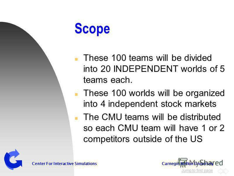 Jump to first page Center For Interactive Simulations Carnegie Mellon University Scope n These 100 teams will be divided into 20 INDEPENDENT worlds of 5 teams each. n These 100 worlds will be organized into 4 independent stock markets n The CMU teams