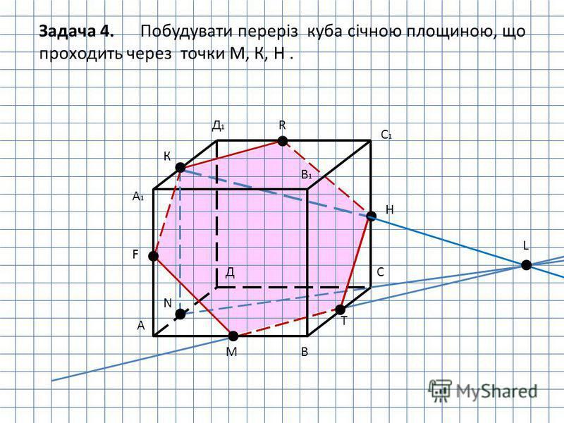 А В СД А1А1 В1В1 С1С1 Д1Д1 К Н М N L Т F R Задача 4. Побудувати переріз куба січною площиною, що проходить через точки М, К, Н.