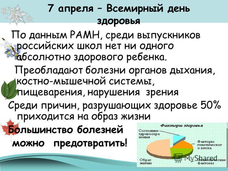7 апреля – Всемирный день здоровья По данным РАМН, среди выпускников российских школ нет ни одного абсолютно здорового ребенка. Преобладают болезни органов дыхания, костно-мышечной системы, пищеварения, нарушения зрения Среди причин, разрушающих здор