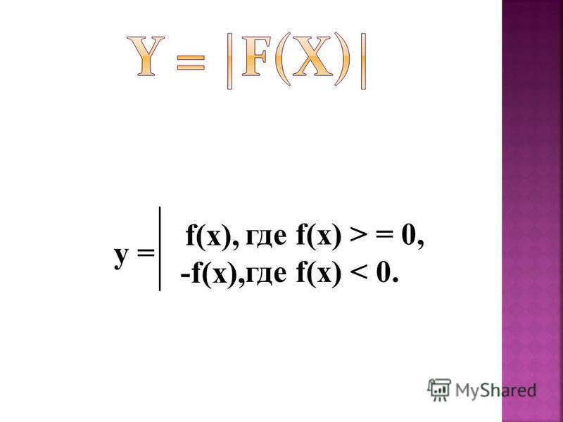 y = f(x), -f(x), где f(x) > = 0, где f(x) < 0.