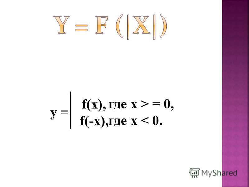 y = f(x), f(-x), где x > = 0, где x < 0.