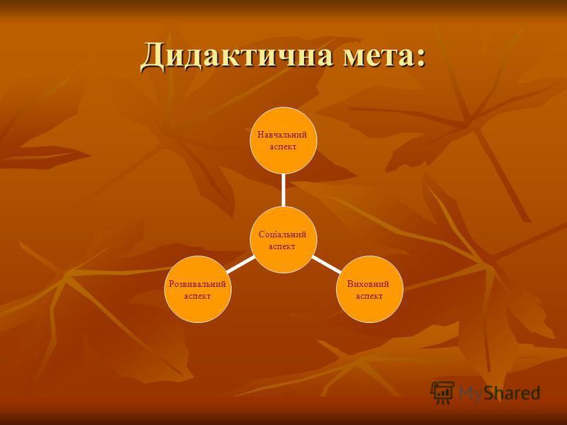 Дидактична мета: Соціальний аспект Навчальний аспект Виховний аспект Розвивальний аспект