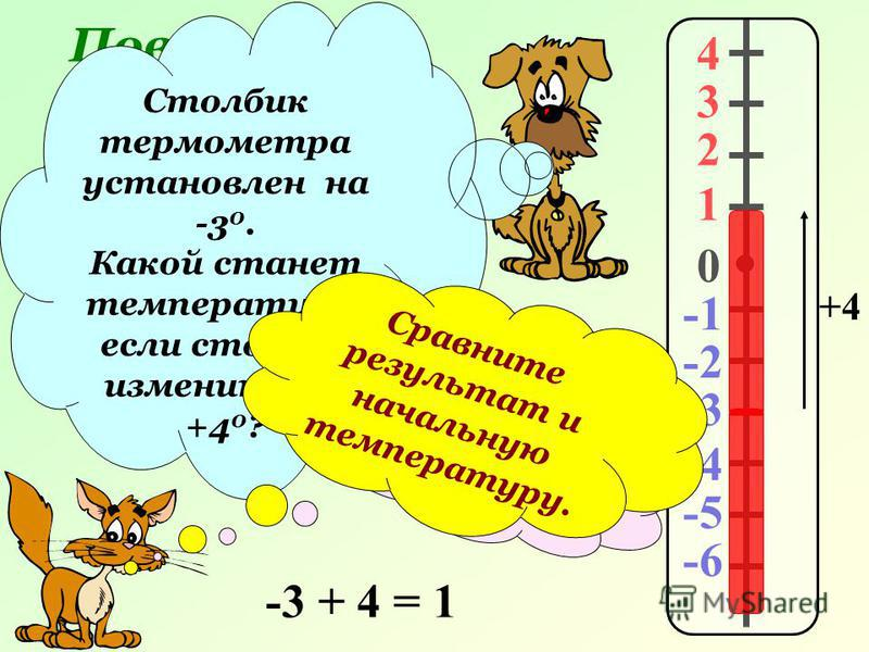 Повторение. 4 3 2 1 0 -2 -3 -4 -5 -6 Столбик термометра установлен на -3 0. Какой станет температура, если столбик изменить на +4 0 ? Правильно! Проверяем … +4 -3 + 4 = 1 Сравните результат и начальную температуру.
