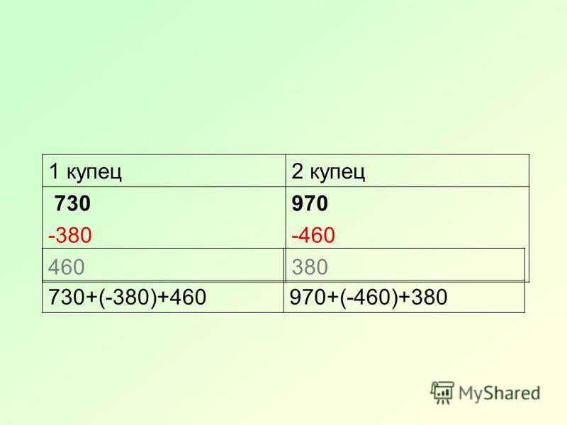1 купец 2 купец 730 -380 460 970 -460 380 730+(-380)+460970+(-460)+380