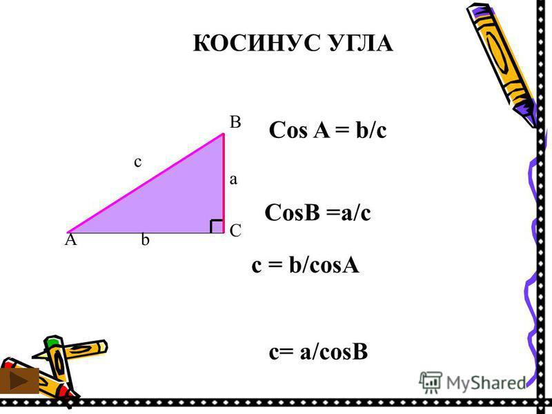 КОСИНУС УГЛА C A b B a c Cos A = b/c CosB =a/c c = b/cosA c= a/cosB