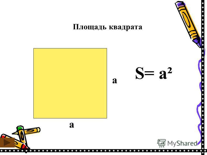 Площадь квадрата S= a² a a
