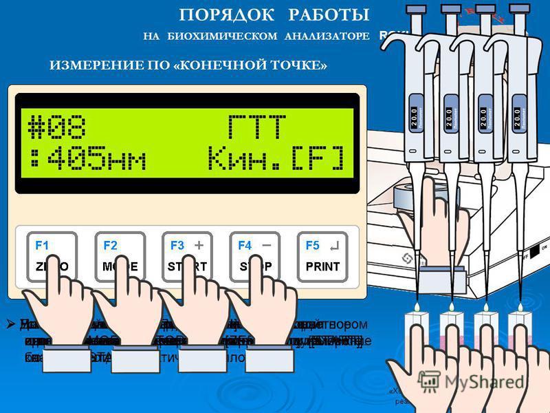 Установите в кюветное отделение кювету с исследуемым образцом и нажмите клавишу [START]. Для дальнейших измерений установите в кюветное отделение кювету с очередным образцом и нажмите клавишу [START]. После окончания измерения серии образцов нажмите