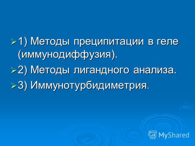 1) Методы преципитации в геле (иммунодиффузия). 1) Методы преципитации в геле (иммунодиффузия). 2) Методы лигандного анализа. 2) Методы лигандного анализа. 3) Иммунотурбидиметрия. 3) Иммунотурбидиметрия.