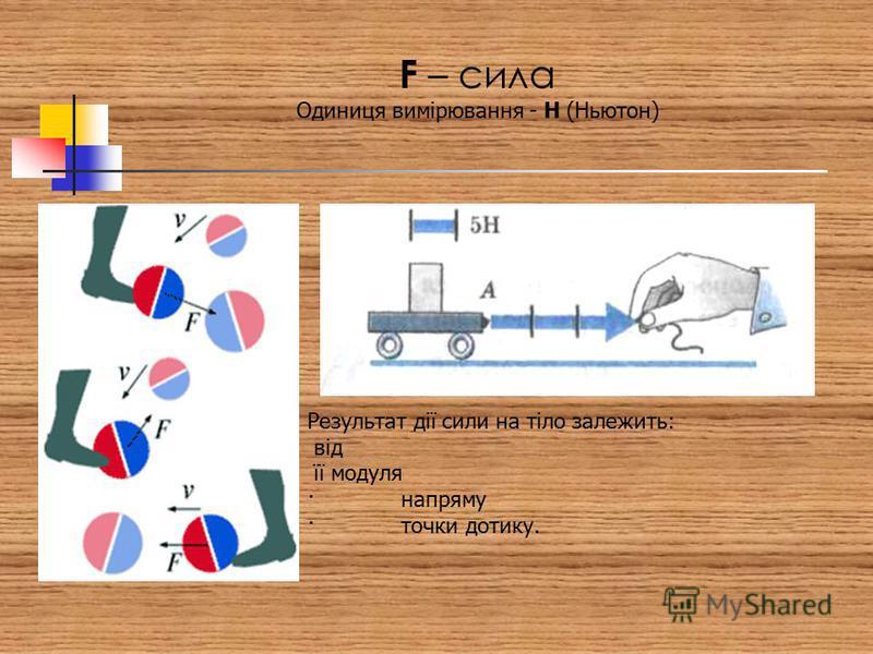 F – сила Одиниця вимірювання - Н (Ньютон) Результат дії сили на тіло залежить: від її модуля · напряму · точки дотику.