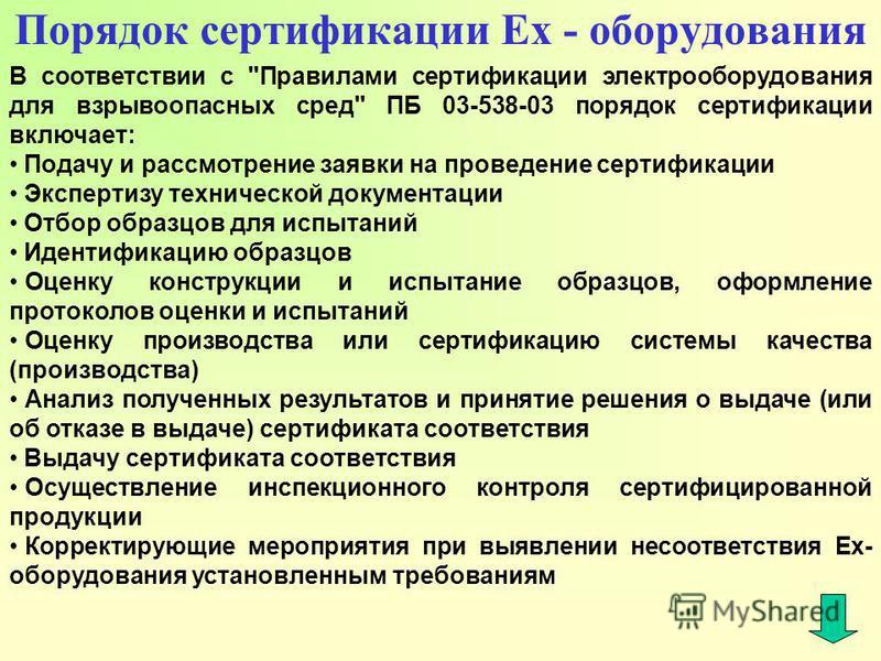 Порядок сертификации Ex - оборудования В соответствии с