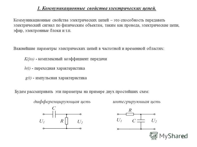 11 Коммуникационные свойства электрических цепей – это способность передавать электрический сигнал по физическим объектам, таким как провода, электрические цепи, эфир, электронные блоки и т.п. h(t) - переходная характеристика K(jω) - комплексный коэф